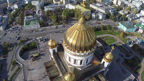 Flight around of the Cathedral of Christ the Saviour against background of city  Footage