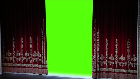 Curtain opens, green chromakey Footage