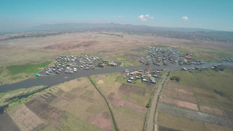Aerial view on village near Inle Lake, Myanmar Footage