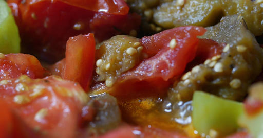 Extreme close up vegetable stew being bowled Footage