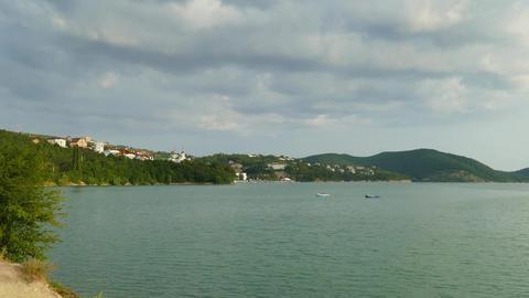 Landscape with Abrau Durso lake, Russia Footage