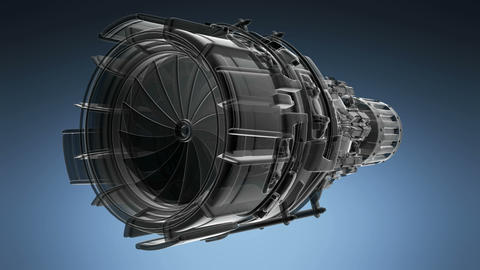 rotate jet engine turbine of plane, aircraft concept Footage