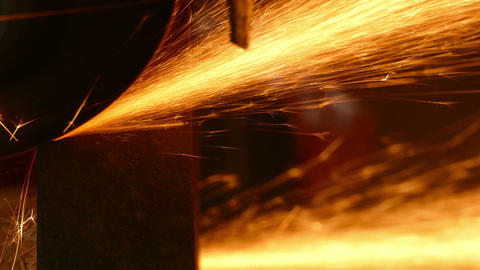 Cutting Sparkles Industry Steel 4K Footage