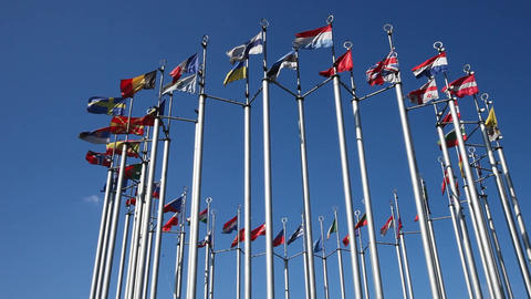 European flags on flagpoles developed in the wind Filmmaterial
