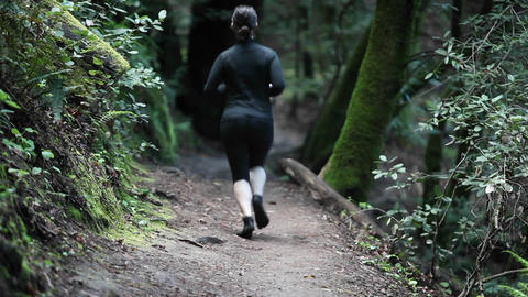 A woman jogs on a path in a wooded area Footage