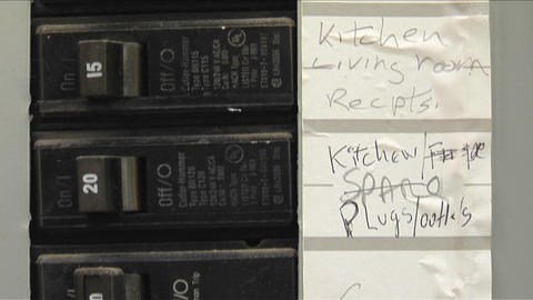 A breaker box contains orderly labels Footage