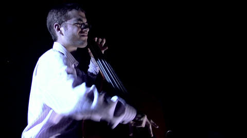 A man plays the bass Stock Video Footage