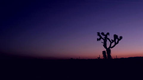 The sky darkens in the desert at golden hour Footage