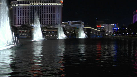 A large, animated outdoor fountain shines in Las Vegas at... Stock Video Footage