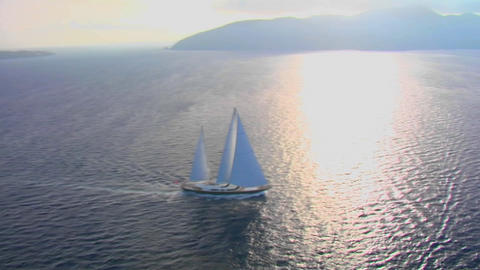 A beautiful aerial shot of a magnificent sailing Stock Video Footage