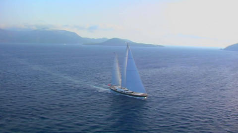 A beautiful aerial shot of a magnificent sailing Footage