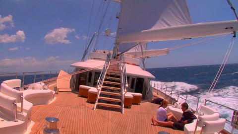 A sailboat on the high seas Stock Video Footage