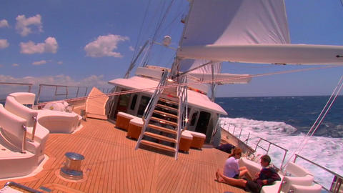 A sailboat on the high seas Footage