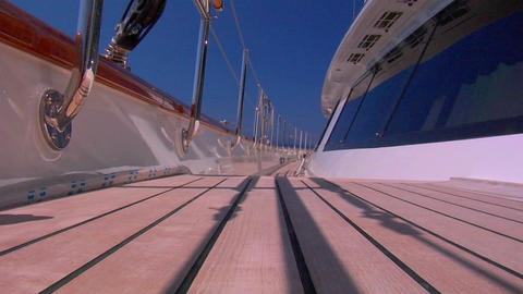 A low angle shot of the deck of a boat Stock Video Footage