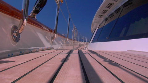 A Low Angle Shot Of The Deck Of A Boat stock footage