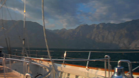 A pan across a sailboat in the Mediterranean Stock Video Footage