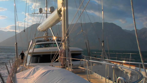 A pan across a sailboat in the Mediterranean Footage