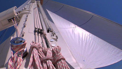 Rigging, mast and sail of a sailboat Stock Video Footage