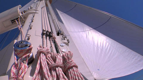 Rigging, mast and sail of a sailboat Footage