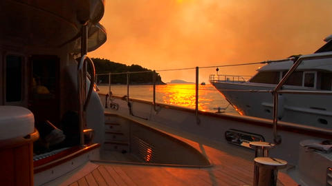 Croatian sunset from the aft deck of sailboat Stock Video Footage