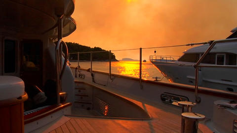 Croatian sunset from the aft deck of sailboat Footage