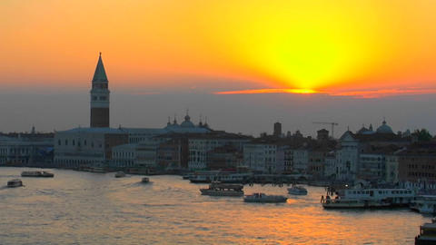 Beautiful Arial, silhouetted view of a sunset of Venice, Italy Footage