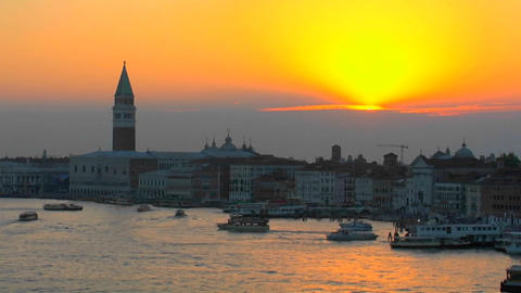 Beautiful Arial, silhouetted view of a sunset of Venice,... Stock Video Footage