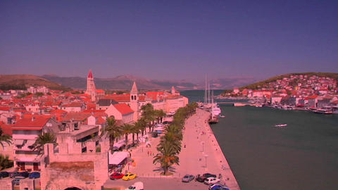 Aerial view of Trojir, Croatia's port and 1000 year old city Footage