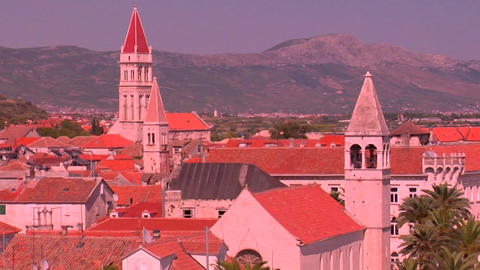 Aerial view of Trojir, Croatia's port and 1000 year old... Stock Video Footage