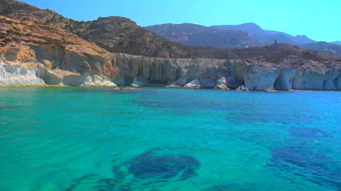 View of Greek island and clear blue waters Stock Video Footage