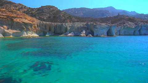 View of Greek island and clear blue waters Footage