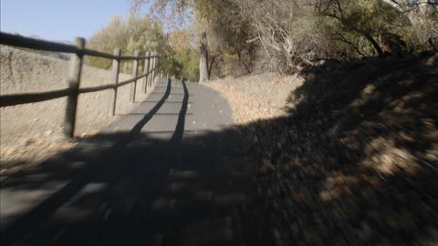 Point of view time lapse cycling up the Ojai to Ventura Bike Trail in Ojai, California Footage