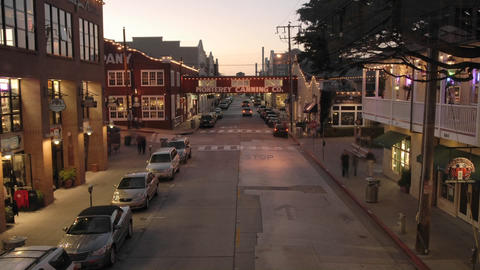 Fast time lapse at dusk of tourists on historic Cannery... Stock Video Footage