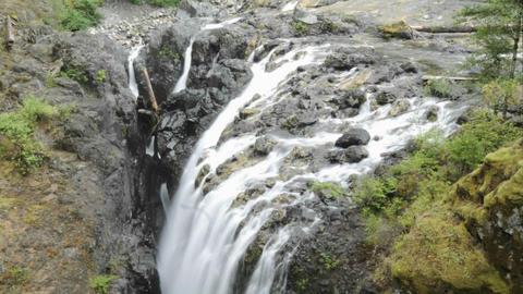 Tilt Down Time Lapse Of Englishman River Falls Provincial Park On Vancouver Island In British Columb stock footage