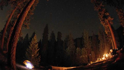 Star trails above a campsite in Kings Canyon National... Stock Video Footage