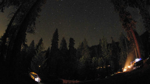 Star trails above a campsite in Kings Canyon National Park, California Footage