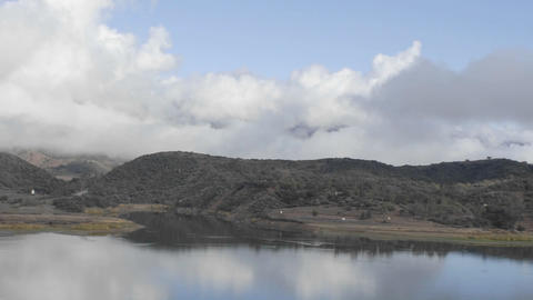 Time lapse of fog and clouds over Lake Casitas in Oak View, California Footage