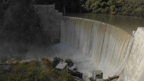 Time lapse of water spilling over the Matilija Dam after a rain in Ojai, California Footage