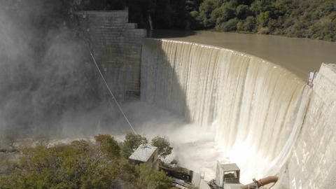 Time lapse of water spilling over the Matilija Dam after... Stock Video Footage