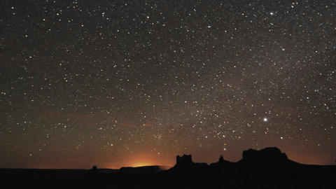 Night time lapse of startrails over Monument Valley Navajo Tribal Park, Arizona Footage