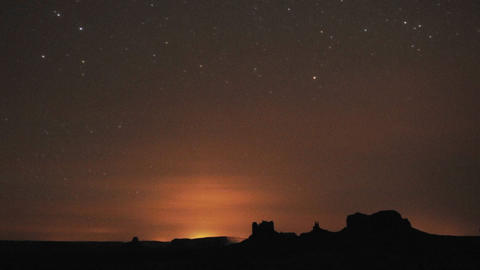 Night time lapse of startrails over Monument Valley... Stock Video Footage