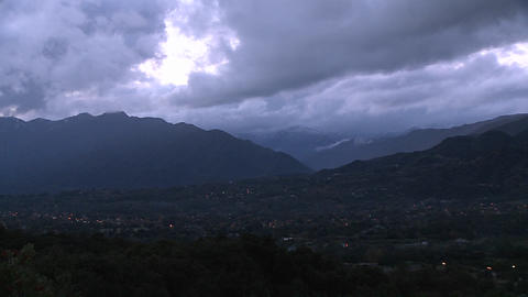 Evening time lapse of a snowstorm blowing over the Ojai... Stock Video Footage