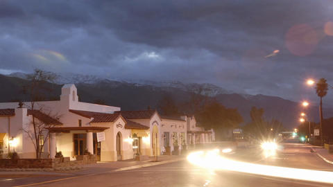 Time lapse of cars on West Ojai Avenue and sunrise on the... Stock Video Footage