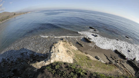 Wide time lapse of waves breaking on the beach at Refugio Beach State Park, California Footage