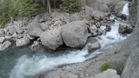 Wide time lapse of Roaring River Falls in Kings Canyon... Stock Video Footage