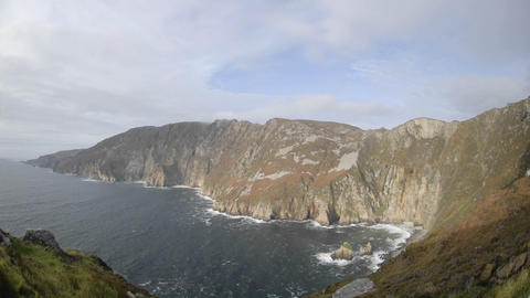 Time lapse of clouds and waves at Slieve League, Teelin... Stock Video Footage