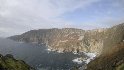Time lapse of clouds and waves at Slieve League, Teelin in Donegal County, Ireland Footage