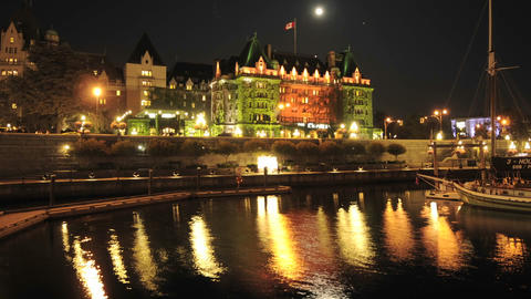 Wide tight time lapse of the Fairmont Empress Hotel and... Stock Video Footage