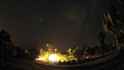 Night time lapse of a wedding campout in Gaviota, California Stock Video Footage