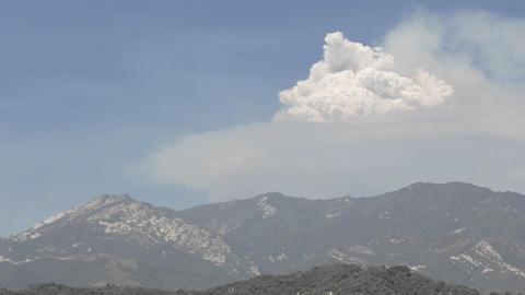 Time lapse of a huge smoke plume from wildfires in the Santa Ynez Mountains, California Footage